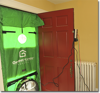 Green Homes Ameicals blower door looking like from inside a home.
