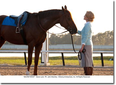 "I loved this moment between Lane and Secretariat: It's a turning point in the film. She ""asks"" him if he is ready to race. No words are spoken but the exchange between actor and horse is great."