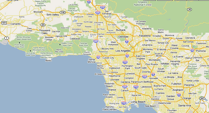Similiar Map Of Greater Los Angeles City Keywords
